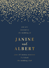 Golden Confetti Wedding Invitation Template