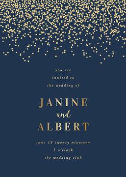 Golden Confetti Wedding Invitation Template