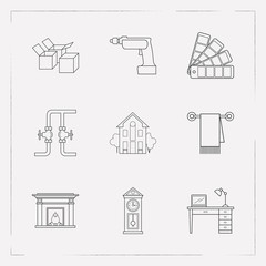 Set of interior design icons line style symbols with color swatch, wall clock, drill and other icons for your web mobile app logo design.