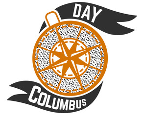 Columbus Day logo sign with compass symbol