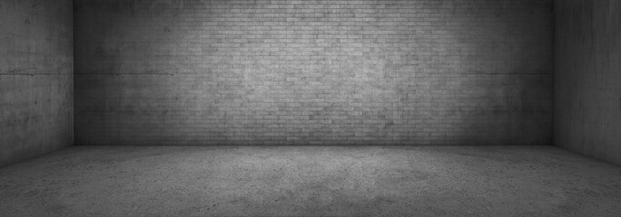 Wide panoramic Concrete Brick Wall Background Room