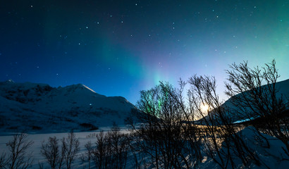 The polar lights in Norway. Tromso