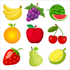 Set of fruits for children learning the English words and vocabulary.
