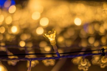 Closeup of flower shaped LED lights in Nabana No Sato Spring Illumination, Mie, Japan