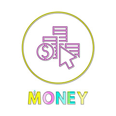 Wall Mural - Money coin column with dollar symbol and cursor depiction. Minimalist round framed cash earning and saving icon in linear style for bank website interface.