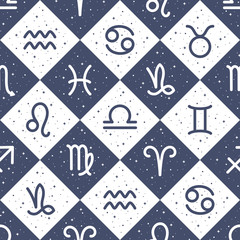 Flat style zodiac signs and stars, sparks seamless repeat vector pattern. Diagonal check, squares geometric chequered background. Zodiac icons, simple horoscope symbols astrological illustration.