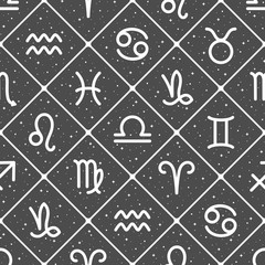 Flat style zodiac signs, night sky with stars, sparks seamless repeat vector pattern. Diagonal crossing lines, squares, rhombus background. Zodiac icons, horoscope symbols astrological illustration.