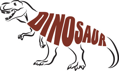 T-REX DINOSAUR text illustration