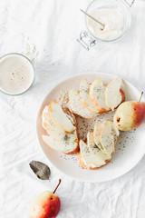 Sandwiches cream cheese pear oat milk white background healthy breakfast snack