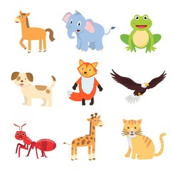 Set of animals for children learning the English words and vocabulary.