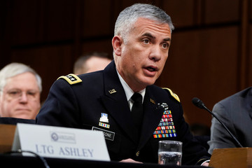 "National Security Agency (NSA) Director Gen. Paul Nakasone testifies to the Senate Intelligence Committee hearing about ""worldwide threats"" on Capitol Hill in Washington"