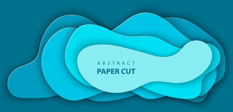 Vector background with blue color paper cut shapes. 3D abstract realistic paper decoration, design textured with cardboard wavy, layout design template, banner, brochure, book cover.
