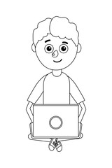 young boy student holding computer