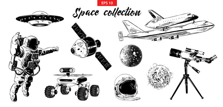 Vector engraved style illustration for logo, emblem, label or poster. Hand drawn sketch set of space elements isolated on white background. Detailed vintage doodle drawing.