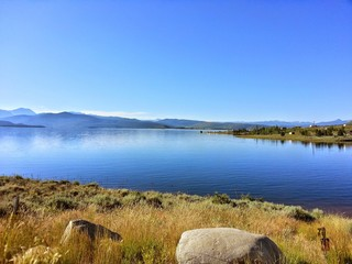 landscape with lake and blue sky