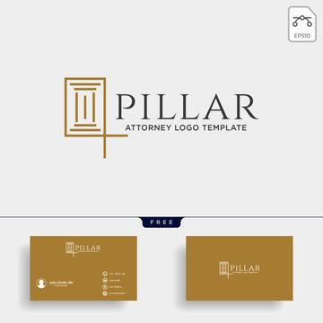 elegant pillar attorney logo line design template vector illustration