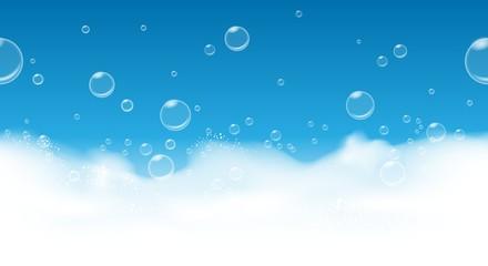 Soap bubbles background. Fresh suds blue horizontal seamless pattern, foam hygiene soapy backgdrop, vector illustration