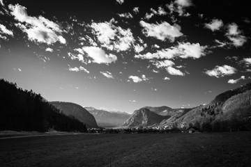 beautiful black and white winter landscape in bohinj, slovenia