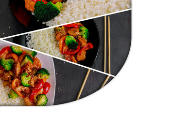 teriyaki chicken and broccoli stir fry with rice Collage from different pictures