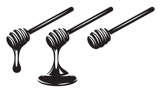 Vector monochrome set of three spoons with dripping honey