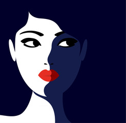 Young model woman with red lipstick  and dark blue background vector illustration poster.
