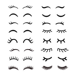 Set of cute cartoon eyelashes. Open and closed hand drawing eyes. Isolated on white.