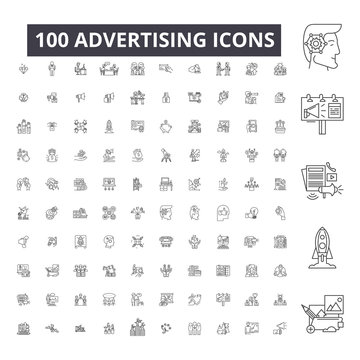 Advertising editable line icons, 100 vector set, collection. Advertising black outline illustrations, signs, symbols