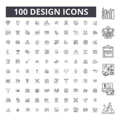 Design editable line icons, 100 vector set on white background. Design black outline illustrations, signs, symbols