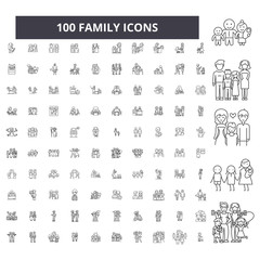 Family editable line icons, 100 vector set on white background. Family black outline illustrations, signs, symbols