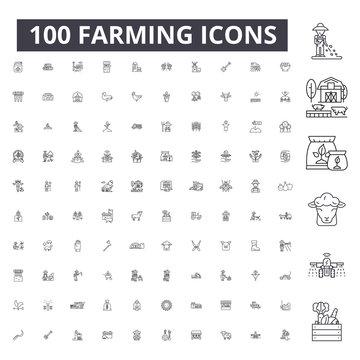 Farming editable line icons, 100 vector set on white background. Farming black outline illustrations, signs, symbols