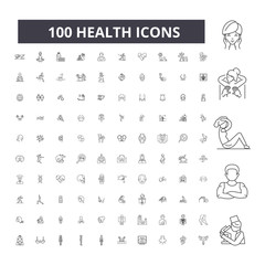 Health editable line icons, 100 vector set on white background. Health black outline illustrations, signs, symbols