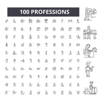 Professions editable line icons, 100 vector set on white background. Professions black outline illustrations, signs, symbols