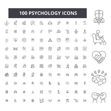 Psychology editable line icons, 100 vector set on white background. Psychology black outline illustrations, signs, symbols