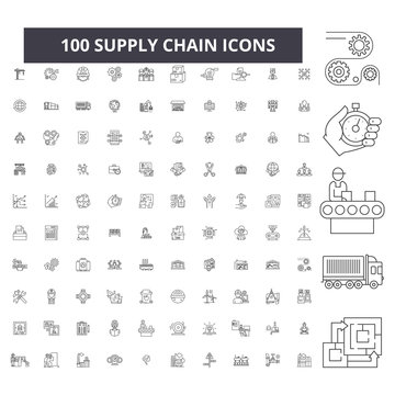 Supply chain editable line icons, 100 vector set on white background. Supply chain black outline illustrations, signs, symbols
