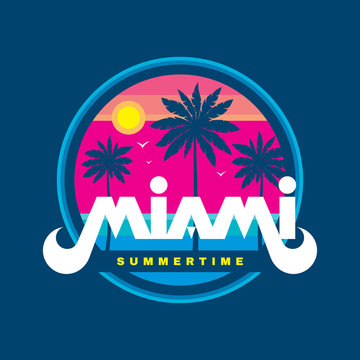 Florida Miami summertime - vector illustration concept in retro vintage graphic style for t-shirt, print, poster, brochure. Palms, sun, coast, beach. Badge logo design. Summer travel vacation.