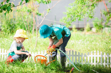 children gardening and watering plants in backyard