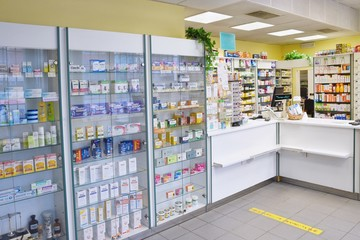 Photo sur Plexiglas Pharmacie May 2, 2016 Brno Czech Republic. Interior of a pharmacy with goods and showcases. Medicines and vitamins for health. Shop concept, medicine and healthy lifestyle.