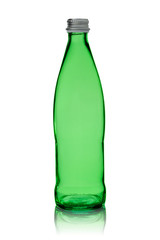empty bottle from green glass with a metal stopper isolated on a white background
