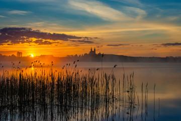 Poster Zalm Sunrise, Lake Wigry, Poland, Europe