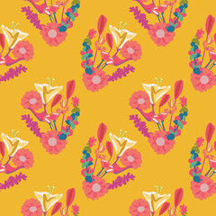 Colorful flowers in the vibrant colors of Mexico create this pretty and dynamic seamless repeat pattern. Perfect for spring and summer occasions, textiles, gift wrapping paper and home decor use.