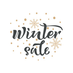 Winter sale handwritten inscription. Vector calligraphy, lettering design with snowflakes on white background.