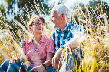 Paar aus Senioren Mann und Frau sitzt auf einer Wiese im Gras