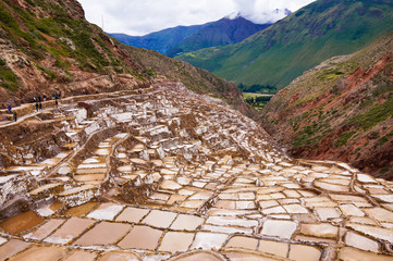 View over the salt fields above the city of Cusco, Peru