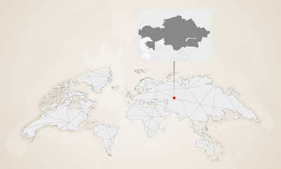 Map of Kazakhstan with neighbor countries pinned on world map.