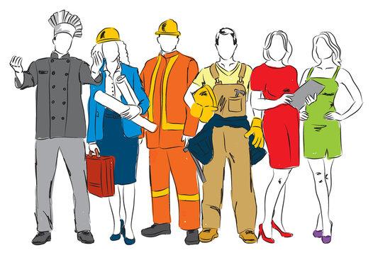 careers professional occupations illustration B2