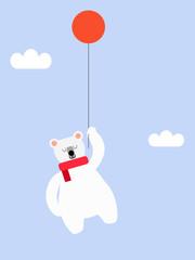 Polar bear and balloon