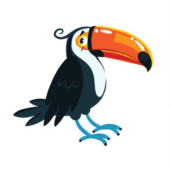 Toucan. Children vector illustration of funny bird