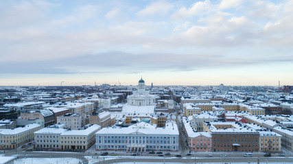 Panorama of Helsinki city at winter. Beautiful sunset.