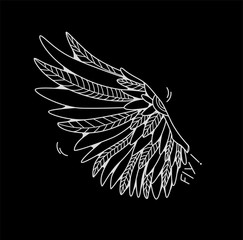 One wing isolated on black background. Cartoon vector illustration.  Can be used as stickers, prints, etc.
