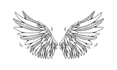 Wings isolated on white background. Cartoon vector illustration.  Can be used as stickers, prints, etc.